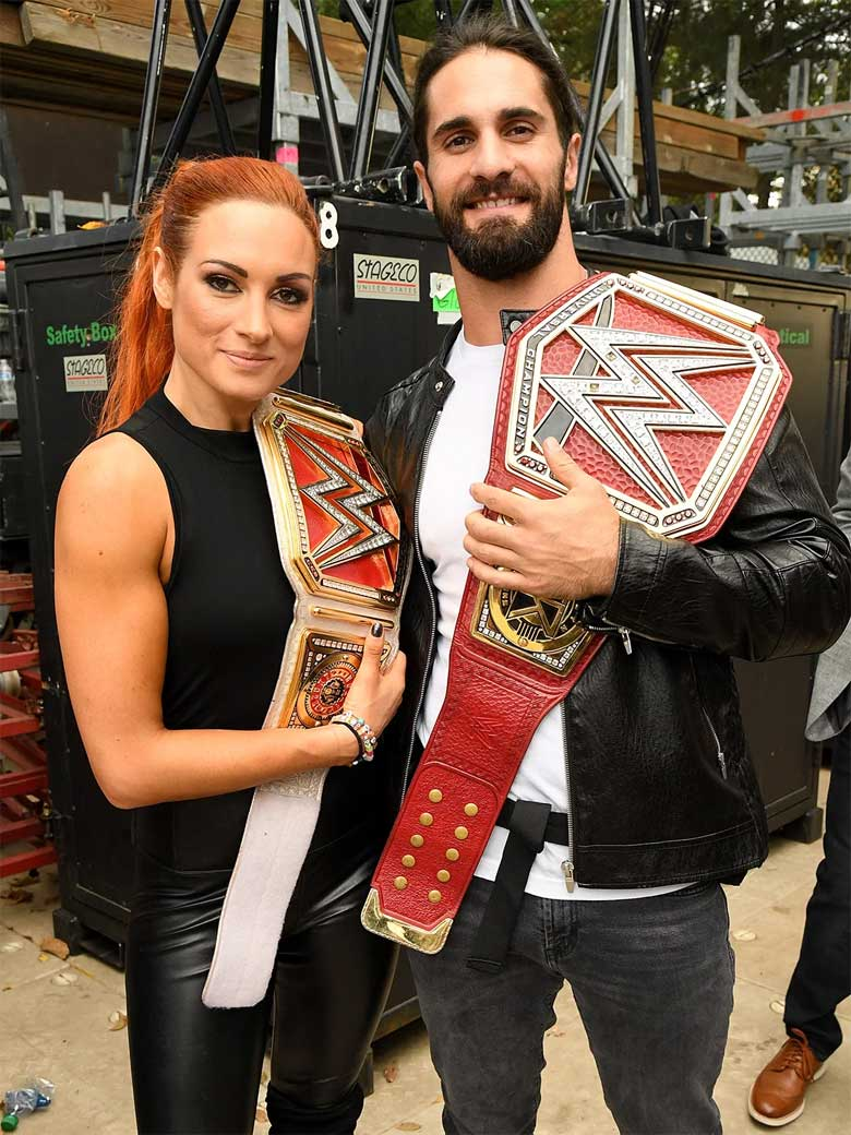 becky lynch with her husband Seth Rollins